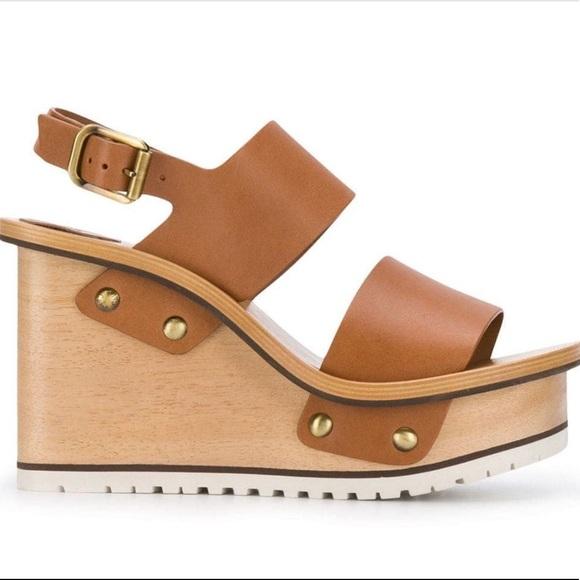 CHLOE buckle wedge sandals